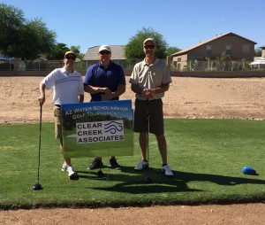Tom Suriano (not pictured), Geno Mammini, Dave Wrzosek and Wayne Feller with Clear Creek Associates supported the Arizona Water Association Scholarship program at the 89th Annual AZ Water Association Golf Tournament.