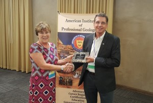 Doug Bartlett receiving the AIPG Presidential Certificate of Merit award from Helen Hickman, AIPG National President, at the American Institute of Professional Geologists annual meeting in Santa Fe, NM in September 2016.